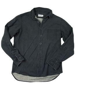 Taylor Stitch- Charcoal Gray Distressed 100% Cotton Denim Button Down 40